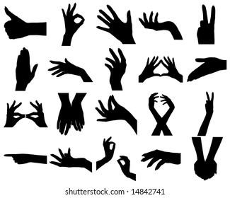 Twenty woman hands silhouettes. On white.