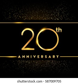twenty years anniversary celebration logotype. 20th anniversary logo with confetti golden colored isolated on black background, vector design for greeting card and invitation card