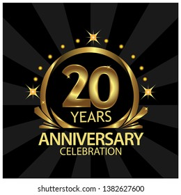 Twenty years anniversary golden. anniversary template design for web, game ,Creative poster, booklet, leaflet, flyer, magazine, invitation card - Vector