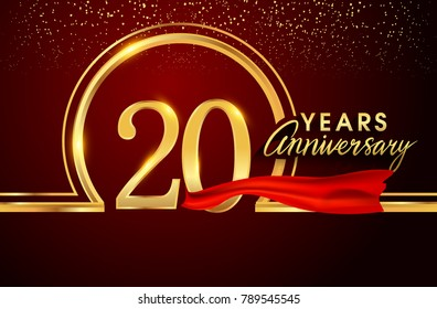 twenty years birthday celebration logotype. 20th anniversary logo with confetti and golden ring, red ribbon isolated on red background, vector design for greeting card and invitation card.