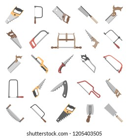 Twenty-five different types of hand saws
