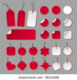 Twenty-five labels in red and white over striped background.