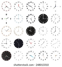 Twenty-four clock faces in various styles. Both modern, simplistic, old school, fancy, with roman numerals etc.