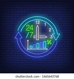Twenty-four seven neon sign. Clock, watch, cycle, arrow, graph, percentage. Time concept. Vector illustration in neon style, glowing element for banners, posters, flyers