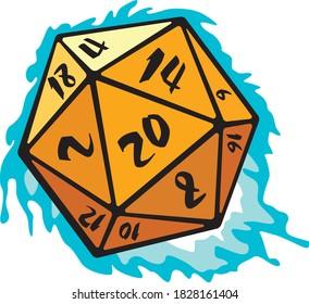 Twenty-sided cube with blue fire