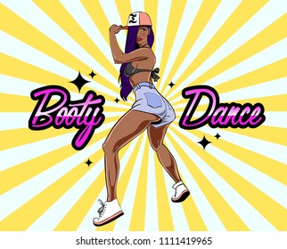 Twerk dance poster design with young sexy girl character. Vector illustration.