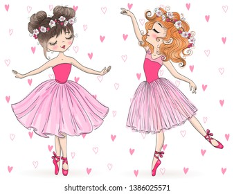 Twho hand drawn beautiful, lovely, little ballerinas girls with flowers on her heads. Vector illustration.