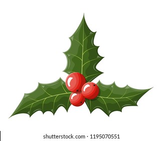 Twig of holly with leaves and berries on white background. Happy new year decoration. Merry christmas holiday. New year and xmas celebration. Vector illustration in flat style