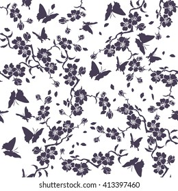 twig sakura blossoms and butterflies. Vector illustration. Dark Silhouette. Seamless pattern