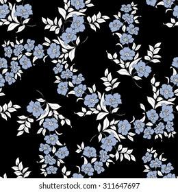twig sakura blossoms. Vector illustration. white Silhouette is on black background, Seamless