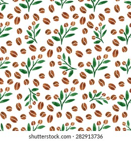Twigs of coffee. Watercolor seamless pattern with coffee branch with leaves. Vector illustration