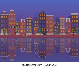 Twilight in the city of Amsterdam, typical dutch houses reflected in waters of the canal. Vector illustration.