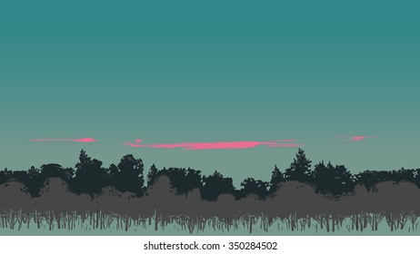 Twilight scenery with pink clouds