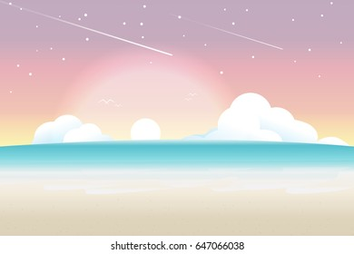 Twilight Sea Background with waves, sun, cloud and star, Vector Illustration