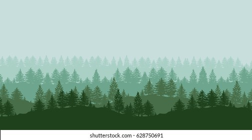 Twilight spruce forest trees green silhouettes background vector illustration.