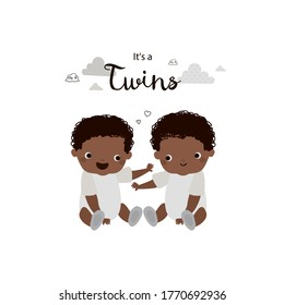 Twin baby boys. Brothers. Two african american babies. Cute vector cartoon illustration. It's a twins.