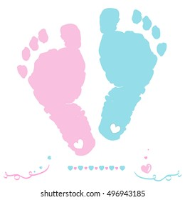 Twin baby girl and boy feet prints arrival greeting card vector illustration