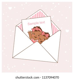 Twin baby shower card.  Cute little twins in envelope. Ethnic children waving hands. Dark skin baby shower. Design template. Vector illustration.