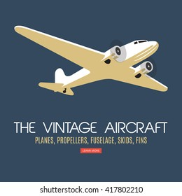 Twin engine passenger plane. For label and banners. Vintage style. Vector illustration.