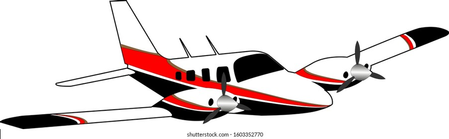 Twin engine small private jet. White plane with longitudinal red black and gold stripes.