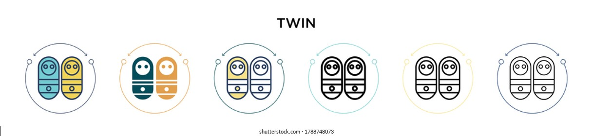 Twin icon in filled, thin line, outline and stroke style. Vector illustration of two colored and black twin vector icons designs can be used for mobile, ui, web