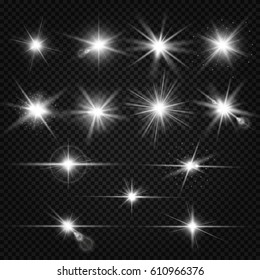 Twinkle lens flares, glare lighting vector effects. Collection of white star energy on on transparent background illustration