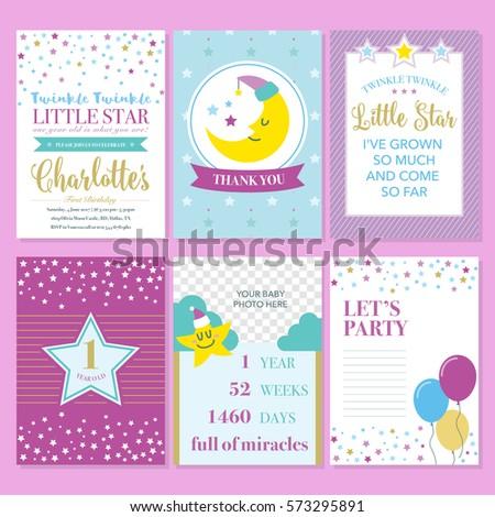 Twinkle Little Star Birthday Invitation Template Stock Vector