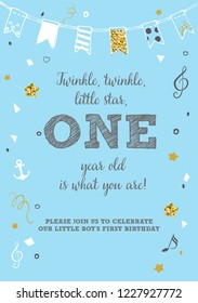 Twinkle, Twinkle, Little Star, Boy's First Birthday One Year Party Printable Invitation Card