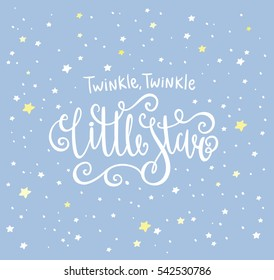 Twinkle Twinkle Little Star card. Bright starry night