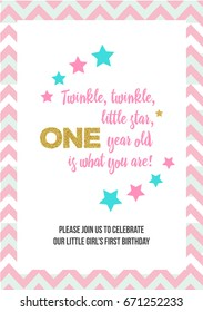 Twinkle, Twinkle, Little Star, Girl's First Birthday One Year Party Printable Invitation Card