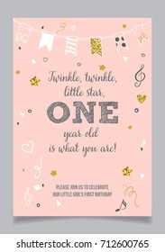 Twinkle Little Star Girls First Birthday One Year Party Printable Invitation Card