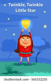 Twinkle Twinkle Little Star, Kids English Nursery Rhymes book illustration in vector
