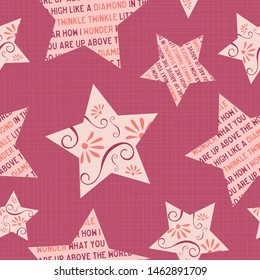 Twinkle little star seamless pattern. Large stars on a rose pink textured background. Adorable design with the rhyme's words in the star shapes. For textiles, nursery decor, pajamas or wallpaper.