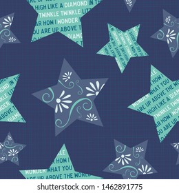 Twinkle little star seamless pattern. Large stars on a dark blue textured background. Adorable design with the rhyme's words in the star shapes. For textiles, nursery decor, pajamas or wallpaper.