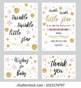 Twinkle twinkle little star text with cute gold, pink colors for girl baby shower card template Vector illustration set Banner for children birthday design, invitation, thank woy card, wishes for baby