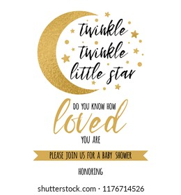 Twinkle twinkle little star text with cute gold star and moon for girl boy baby shower card template Vector illustration. Banner for children birthday design logo label sign print Inspirational quote