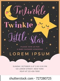 Twinkle twinkle little star text with cute star and moon for girl baby shower card template