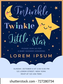 Twinkle twinkle little star text with cute star and moon for boy baby shower card template