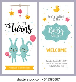 It's a Twins! Baby shower card set. Invitation template with hand lettering and cute rabbits. Label with letters and kids illustration.