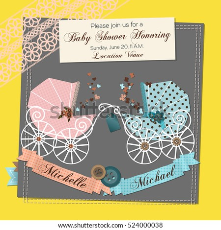 twins baby shower invitation template vector illustration