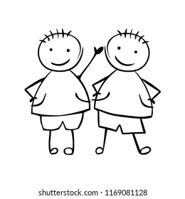 Twins Boys. Brothers. Linear vector people in the children's style
