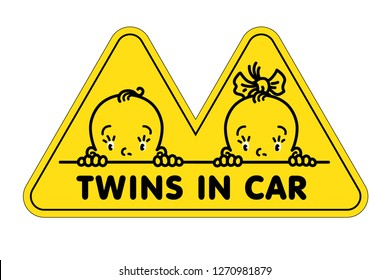 Twins in car sticker. Faсes of baby boy and girl