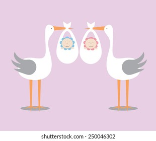 Twins delivery by a stork.EPS 10 vector file.
