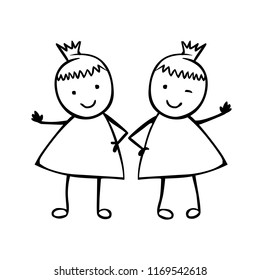 Twins girls. Sisters. Linear vector people in the children's style