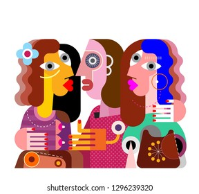 Twins girls  and their ugly girlfriend with obsolete phone. Contemporary fine art vector illustration. Colorful image isolated on a white background.