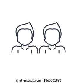 Twins icon, linear isolated illustration, thin line vector, web design sign, outline concept symbol with editable stroke on white background.