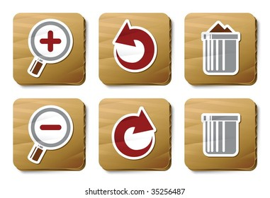 Twins icons. Vector icon set. Three color icons on cardboard tags.