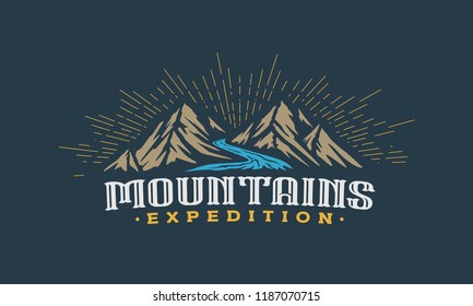 Twins Mountains with river label in dark background template