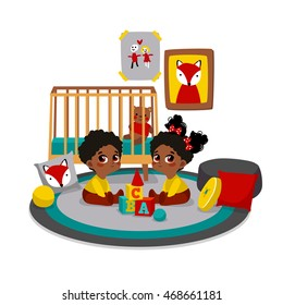 Twins playing with toys at children's room. Vector illustration of child. Characters in cartoon flat style.