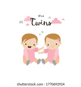 It's a twins. Twin baby girls. Sisters. Two african american babies. Cute vector cartoon illustration.